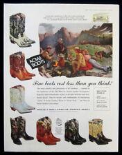 1957 Acme Cowboy Boots vintage print ad - art - camp out, varieties