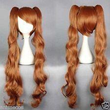 Yurikuma Arashi Lulu Yurigasaki long brown curly hair cosplay wig +Free wig cap