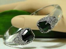 Alexis Bittar Clear Lucite & Deco Emerald Crystal Cuff Bracelet.*******NEW******