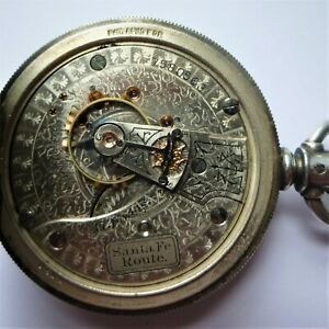 RARE WALTHAM SANTA FE ROUTE 17J 18S MODEL 1883 SILVER HUNTER CASE