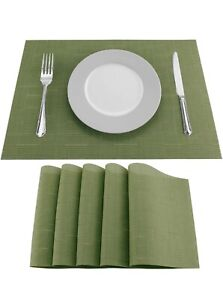 Placemats Vinyl Woven Dining Table Washable Green
