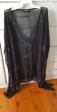 EAST MEETS WEST Kaftan Beach Boho Black Embriodered Beaded Dress Free Size O/S
