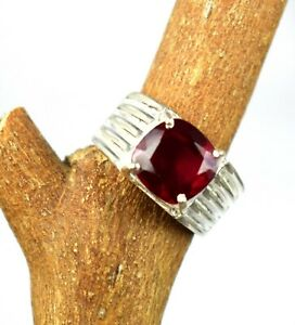 AAA Grade Cushion Burma Ruby Men's Ring in 925 Silver 5.73 Ct Natural Certified