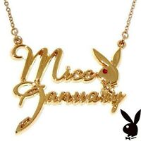 Playboy Necklace MISS JANUARY Bunny Pendant Gold Plated Playmate of the Month