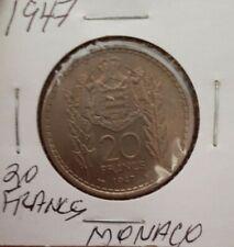 MONACO 20 FRANCS 1947 HIGH GRADE