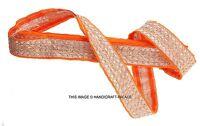 INDIAN VINTAGE SARI BORDER ANTIQUE TRIM RIBBON GOLD ETHNIC LACE 1 YARD CRAFT