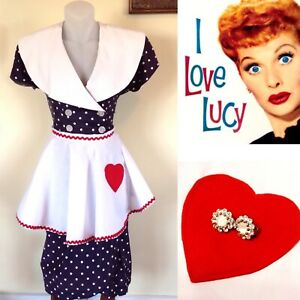 Womens I Love Lucy Costume Vintage Blue Polka Dot Dress Apron Earrings Small S/M