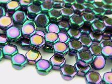 30x Czech Honeycomb Beads 6mm Hexagonal 2 Hole Jet Purple Iris