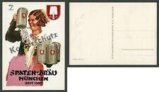 Hohlwein Spaten-Bräu Kellnerin Dirndl Tracht München Bier Maßkrug Otto Hupp 1933