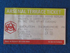Arsenal v Derby County - 1/12/92 - Coca Cola Cup 3rd Rd Replay Ticket
