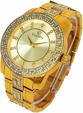 Mens Elgin Iced 18k Gold Plated Stylish Luxurious Metal Band Dress Watch