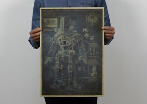 """Russian Robot Structure Chart Drawing Poster Vintage Art Wall Decor 14""""x20"""""""