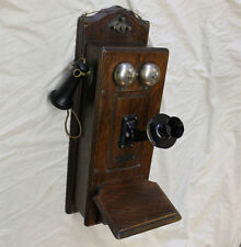 Antique Oak Wall Mount Monarch Company Telephone – original finish