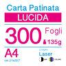 CARTA PATINATA LUCIDA A4 (cm 21x29,7) 135g PER STAMPANTI LASER - 300 FOGLI