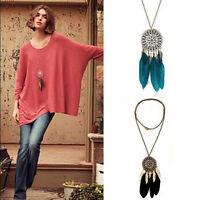 Women Retro Dream Catcher feather Pendant Long Sweater Fashion Chain Necklace
