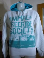 "Animal - "" Free Ride Society "" white & green hoodie - size s"