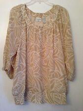 Covington Women's Blouse Plus 20W-22W Raglan 3/4 sleeve Tan/White 100% Polyester