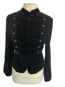 Black Velvet Steampunk Jacket Military Blazer Gold Buttons Punk Rock Size 14