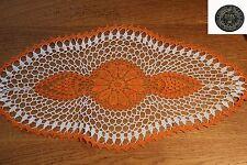 Napperon au crochet -ORAGE- fil cordonnet DMC 30 orange et blanc