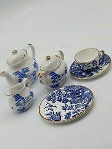 Coalport 'Willow' & Bone China Miniature Tea Set. Excellent Condition