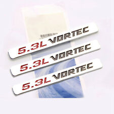 3x OEM 5.3L VORTEC Emblems HOOD Engine Badge Silverado Z71 GMC Sierra Chrome 1UW
