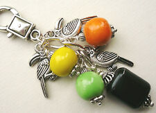 Toucan Bag Charm Green Yellow Orange Black Ceramic Bead Silver   KCJ1047