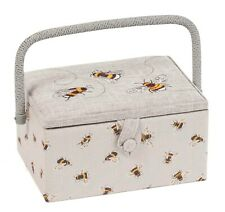 SEWING BASKET BOX 'EMBROIDERED BEE' DESIGN Medium Size SUPER QUALITY MRME587