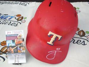 Willie Calhoun signed GAME USED Texas Rangers full size batting helmet JSA COA