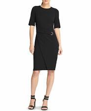 NWT $130 DKNY Faux Wrap Mock Tie Waist Sheath Dress Size2 Black Fitted Grommet