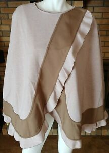 Randolph Duke The Look Pink/Taupe Reversible Plus Size Cape Poncho NWT Size 1X