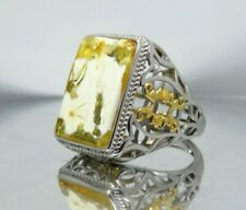 Luxury 925 Sterling Silver Men Ring with Yellow White Natural BALTIC AMBER stone