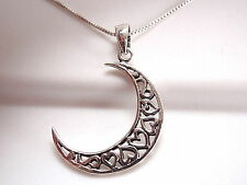 Hearts in Crescent Moon Necklace 925 Sterling Silver Corona Sun Jewelry Love