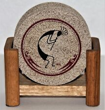 Thirstystone Coasters Set of 4 with Holder Kokopelli Design Cork Base
