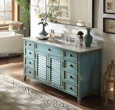 "60"" Bath Sink Cabinets Vanity Rustic Abbeville & Backsplash Cf-66323Bu-Bs"