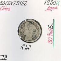 50 CENTIMES CERES - 1850K - Pièce de monnaie en Argent // TB