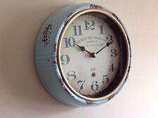 Wall Clock Distressed Vintage Lookin Battery Operated Quartz Clock Duck egg Blue