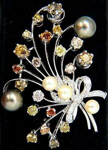 6.00ct NATURAL FANCY COLOR YELLOW ORANGE BROWN PINK DIAMOND BROOCH &PEARL+