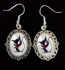 Doom Kitty Ruby Gloom Cat Antique Silver Drop Earrings Goth Steampunk Eyes Cute
