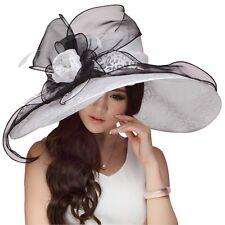 US Local Shipment Ladies Derby Wedding Party Hats Beach Wide Brim Dress Sun Hat