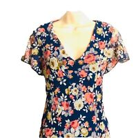 Modcloth Sheer Floral Mini Dress Size M Blue Floral Print Made In USA