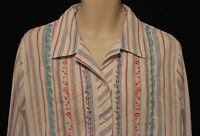Koret Woman pink aqua purple striped embroidered 3/4 sleeve blouse womens 20W
