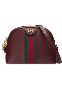 $1750 GUCCI burgundy red Ophidia rounded top green Web crossbody shoulder bag