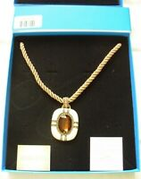 HEIDI DAUS IVORY ENAMEL PENDANT AMBER CRYSTAL ROPE NECKLACE NEW IN BOX