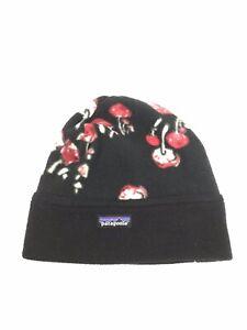 Patagonia Fleece Beanie Hat Cap ~ Rare Mushroom Print ~ Vintage Unisex Black Red