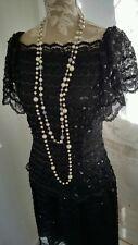 Vtge 1920's style Designer black sequin lace dress by size 12 uk