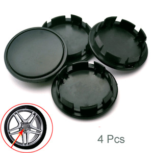 4 Pack ABS Plastic Car Wheel Hub Center Cap Black Decorative Cover 58mm/53mm Set