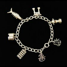 """Sterling Silver Asian Orient Cultural Travel Style Charm Bracelet 8"""""""