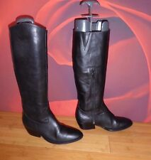 "*61* SAXONE BLACK LEATHER  RIDING COWBOY STYLE  BOOTS  EU 36 SLIM CALF  13"" 33cm"