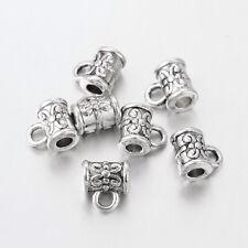 20 x Colgador de fianza plata antigua columna tibetano Beads enlaces 7.5mm X 5.5mm