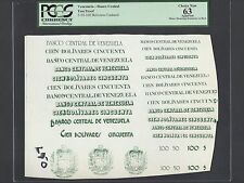 Venezuela - Banco Central 5-50-100 Bolivares Undated Vignette Proof Uncirculated